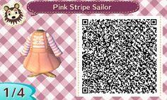 ACNL QR Code: Pink & White Stripe Sailor Dress
