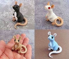 Four Little Ratties in Polymer Clay (Inspiration Only. No Pattern or Instructions.) Thanks for recommending this, ! Polymer Clay Kunst, Polymer Clay Figures, Polymer Clay Sculptures, Cute Polymer Clay, Polymer Clay Animals, Cute Clay, Polymer Clay Miniatures, Polymer Clay Projects, Polymer Clay Charms