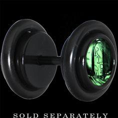 Black Titanium RIP Tombstone Glow in the Dark Cheater Plug