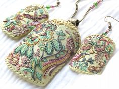 Polymer Embroidery Style pendant and earrings by Russian artist  Пластика ФИМО