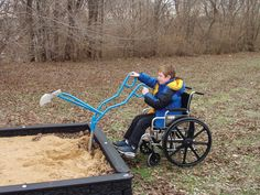 , ADA Playground Digger - Do you need a really fun gaming device that provides inclusive wheelchair access? This practical sand digger is your solution. Commercial Playground Equipment, Play Equipment, Adaptive Equipment, Playground Design, Outdoor Playground, Playground Sand, Playground Ideas, Digging Tools, Outdoor Play Spaces