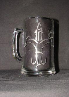 $13  Hunting Fishing Fleur De Lis Hand Etched on Beer Mug, Pint Glass