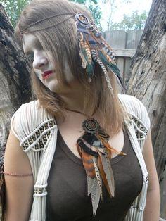 necklace earthtone feather dreamcatcher necklace by gildedingypsy