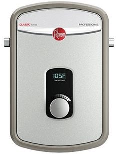 Rheem Heating Chamber Residential Tankless Water Heater: Professional classic® tankless electric water heaters offer continuous hot water quick and on demand for single point-of-use or multiple applications Solar Energy Panels, Best Solar Panels, Tankless Hot Water Heater, Solar Roof, Solar Panel System, Water Heating, Under Sink, Water Supply, Solar Power