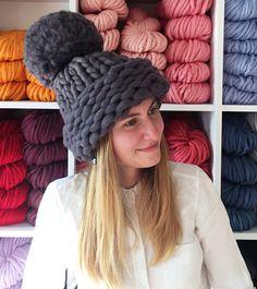 d4870f1fac5 Chunky Pom Pom Knit Hat. Extreme Chunky Knit Beanie. Merino Wool Knit Hat.  Giant Pom Pom Hat. Big Pom Pom Hat. Chunky Wool Hat. Huge beanie.