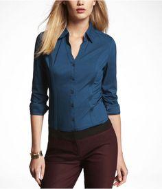Express Womens The Original Long Sleeve Essential Shirt Venetian Teal