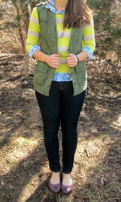 military cargo vest + striped sweater + floral shirt