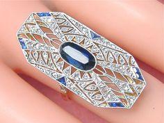 ESTATE ART DECO .48ctw DIAMOND 1.52ctw OVAL SAPPHIRE FILIGREE LONG COCKTAIL RING #Unbranded #ARTDECOCocktail
