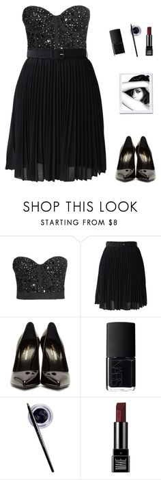 """""""#"""" by algodaodoce9 ❤ liked on Polyvore featuring Topshop, Chicwish, Yves Saint Laurent, NARS Cosmetics, Maybelline, Make and Chanel"""