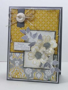 Narelle Farrugia: Stampilicous - 7-26-13. SU products: Stamps--Flower Shop, Petite Pairs, Summer Silhouette, Nature Walk (bee). Papers--Smoky Slate cbase/mat, Whisper White cs, Eastern Elegance dsp, Soho Subway dsp. Ink--Smoky Slate, Summer Starfruit. Modern Label punch, Very Vintage buttons. Linen thread. Challenge - Just Add Ink #175.