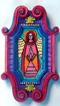 virgin mexican folk art | Original Mexican Folk Art Painting Virgin of Guadalupe Angel SMALL ...