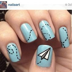 Paper Airplane Nail Art--So cool, but I don't think I'd ever be able to do this!