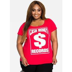Ashley Stewart Cash Out Hip Hop Graphic Tee - Red Red ($35) ❤ liked on Polyvore featuring plus size women's fashion, plus size clothing, plus size tops, plus size t-shirts, red tee, women's plus size graphic tees, print t shirts, plus size red tops and short sleeve t shirt