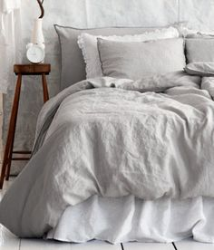 Linen Duvet Cover Set, Light Gray traditional duvet covers