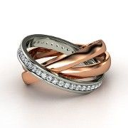 Rose Gold Ring with Diamond by Gemvara Essentials