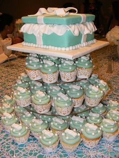 My breakfast at Tiffany's bridal shower cake and cupcakes