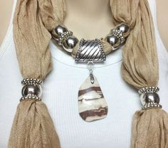 caramel jewelry scarf with natural real big gemstone