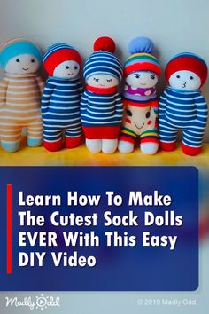 Learn How To Make The Cutest Sock Dolls EVER With This Easy DIY Video sewing video DIY sewingprojects kids dolls socks sewinghacks video crafts sew Diy Sock Toys, Sock Crafts, Sewing Crafts, Crafts With Socks, Child Doll, Kids Dolls, Sock Dolls, Operation Christmas Child, Sock Animals