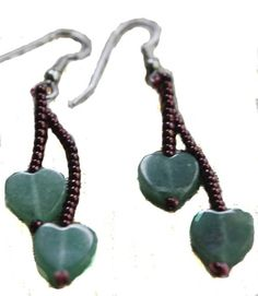 Handcrafted Green Aventurine Hearts and Copper Bead Earrings