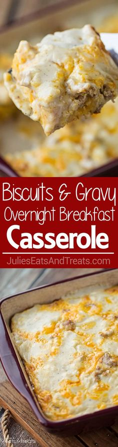 Biscuits and Gravy Overnight Breakfast Casserole ~ Comforting Hearty Breakfast…