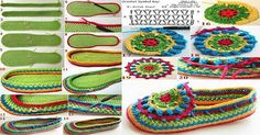 Knitting Models of Crochet Colorful Neck Collar Crochet Slipper Boots, Crochet Baby Boots, Crochet Sandals, Knitted Slippers, Crochet Slippers, Crochet Clothes, Crochet Gifts, Diy Crochet, Knitting Patterns