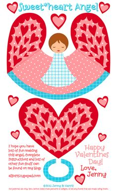 Angel paper doll for Valentine