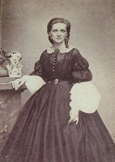 1860s dress, no center hair part