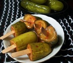 Kool-Aid Pickles.....Alton Browns Puckerin Pickle pops. Either they are really good or they are very bad!