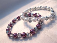 Sparkly and beautiful pearl and silver bracelet by MadeByCwithLove, $10.00