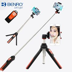 BENRO Handheld & mini Tripod 3 in 1 Self-portrait Monopod Phone Selfie Stick w Bluetooth Remote Shutter for iPhone Sumsang Gopro,Tripods & Accessories,Consumer Electronics Gopro Hero 5, Bluetooth Remote, Gopro Photography, Gopro Camera, Selfie Stick, Selfie Selfie, 6s Plus, A Table, Cell Phone Accessories