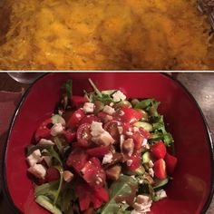 Left over chicken made info enchilada casserole, with a fantastic seasonal salad ! Enchilada Casserole, Enchiladas, Preserves, Salad, Meals, Fresh, Chicken, Ethnic Recipes, Food