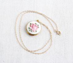 SALE Vintage Enamel Guilloche Floral Locket Gold by MaejeanVintage