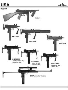Ingram Machine Pistols and SMGs Weapons Guns, Guns And Ammo, Military Weapons, Military Art, Battle Rifle, Submachine Gun, Assault Rifle, Cool Guns, Revolver