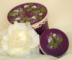 Hand-Painted Hat Box Set of 2 - Lavender Roses with Lace Trim - Jewelry Box Accessories Storage by HandPaintedPetals on Etsy