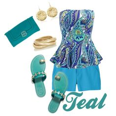 Teal by dauchka22 on Polyvore featuring moda, Uniqlo, Tory Burch, Kenneth Jay Lane and Monica Vinader
