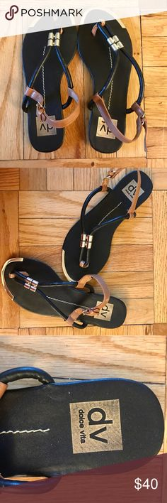 Dolce Vita Thong Sandals Near perfect condition Dolce Vita sandals.  Black with tan and gold details.  Super comfortable.  Offers welcome. Dolce Vita Shoes Sandals