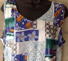 Hilo Hattie Pineapple & Ukelele Patchwork Print - Ladies Large Dress