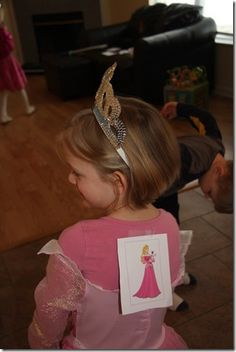 Games - Who Am I? Disney Version. Everyone got a character taped to their back. go around and ask questions to figure out who it was. Or could have the adult have it on their head, and ask the kids questions? Disney pictionary - with adult drawing the pictures