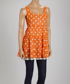 Another great find on #zulily! Orange & White Polka Dot Tiered Scoop Neck Tunic by Just Funky #zulilyfinds