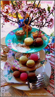 Vibrant exotic three tier handmade cake stand by PoshandSeductive