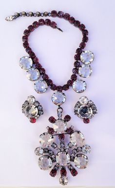 INCREDIBLE HUGE SCHREINER BIB NECKLACE & EARRINGS IN CUT CRYSTAL & RED ART GLASS! LOVE!
