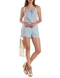 Textured Stripe Tie-Neck Romper: Charlotte Russe #romper