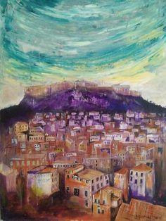 Acropolis wall art, athens, Greece, historic, colour, orange and grey, purple, handmade, interior design, canvas, acrylic, art, landscape