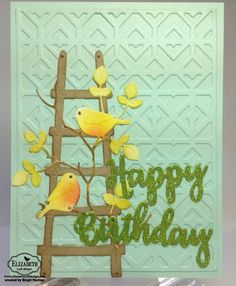 Spring is in the air for Birgit! She created this gorgeous pastel Birthday card featuring so many of our new products! Check out Birgit's full blog post for step-by-step instructions and supplies! http://craftingwhileiwait.blogspot.com/2017/01/elizabeth-craft-designs-birthday-birds.html