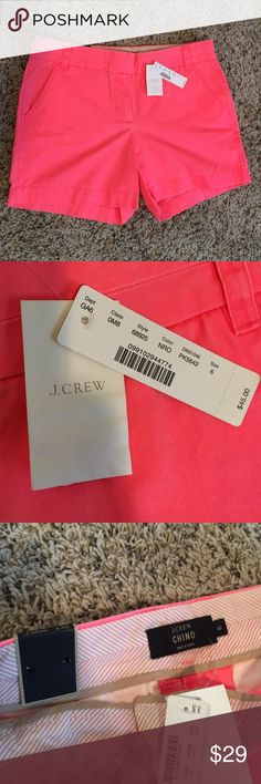 "J. Crew NWT Hot Pink Chino Shorts Sz: 6-5"" INSEAM J. Crew NWT Hot Pink Chino Shorts Sz: 6. Selling for my mother in law... BRAND NEW!! These are so cute! how fun for summer! These have a spare button attached. Zip and hook closure. 5"" inseam. Back right pocket had button and is a real pocket. Left back pocket is faux. (100% cotton) machine wash. I have these in Blush Pink, Light Blue, another pair of the same Hot Pink w/o tags, and Teal (sz4) as well! J. Crew Shorts"