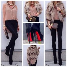 Outfit : pink blouse, light fur jacket, black skinnies, and black booties