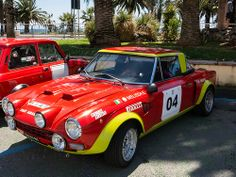 Vintage Rally Cars in San Remo - Fiat 124 Abarth Sports Car Racing, Sport Cars, Fiat 500, Fiat Sport, Fiat 124 Spider, Fiat Cars, Classic Race Cars, Fiat Abarth, Car Wheels
