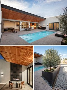 The rear private courtyard of this modern house revolves around a pool, while a steel-clad outdoor fireplace is located on one side, and on the opposite side, there's a wall hung outdoor kitchen. Modern Courtyard, Courtyard House Plans, Courtyard Ideas, Pergola Metal, Adobe House, Up House, House Goals, Exterior Design, Architecture Design