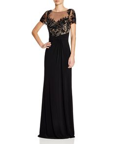 David Meister Embellished Mesh Jersey Gown | Bloomingdale's