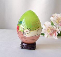 Vintage Glass Egg Églomisé Hand Painted Mouse Easter Egg Gift